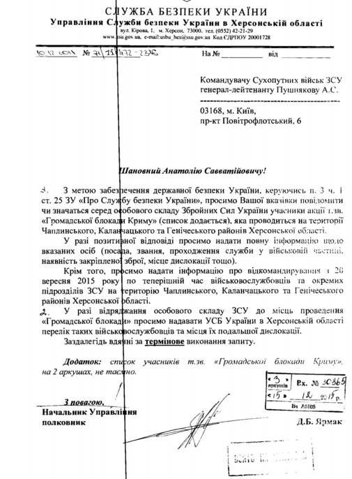 СБУ потребовала личные данные военных Сухопутных войск, участвующих в блокаде Крыма