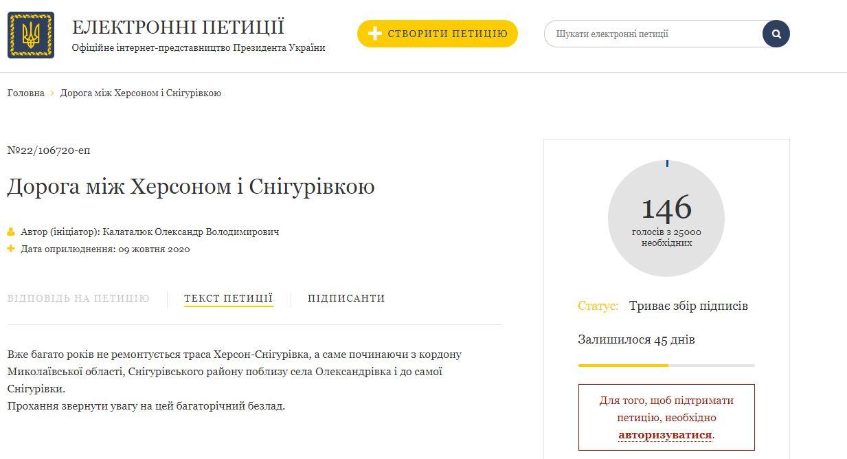 Жители Херсонщины написали петицию Президенту: просят обратить внимание на дороги